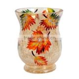 Amber leaves series cheap crystal tealight hurricane votive candle holders for home decoration