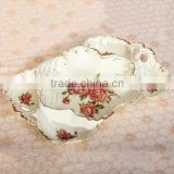 flower pattern beige brushwork dry resin plastic fruit tray