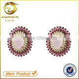 wholesale solid 925 silver women ruby zircon ear stud earrings                                                                                                         Supplier's Choice