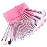 22pcs goat hair pink handmade makeup brush set/cosmetic brushes kit/private label free sample with pink Makeup brush pouch