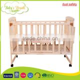 WBC-09A dual safety hooded locking wheels wooden baby cot bed protection                                                                         Quality Choice