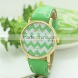 Classic Wholesale Green Pu leather Strap Stripe Wave Pattern Chevron Mechanical Wrist Watch in Stock!
