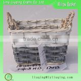set 2 grey wood chip wire basekts for plant garden wood chip baskets