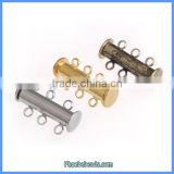 3 Rings Silver Gold Bronze Brass Metal Slide Lock Column Magnet Magnetic Clasps For Jewelry Making MC-M117