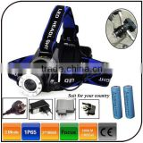 CE ROHS 1600 Lumen 2pc 18650 Battery Zoomable Hunting Rechargeable Led Bicycle Head Light