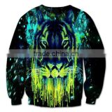 2014New style European explosion wholesale 3D tiger head pattern animal personality trend women sweater