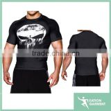 Gym Fitness muscle building tee shirt compression wear soft plain t-shirts latest shirt designs for men