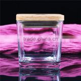 high quality square scented candle glass jars with wooden lid