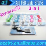 3 in 1 Retractable USB Cable for Apple iPhone 4s iPad2/3/4 iPad Mini iPhone Micro USB Mobile Phone