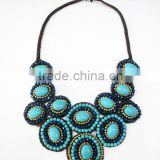 Blue Howlite stone with Crystal, Natural stones Wax cotton thread with mixed natural stone, Stone necklace WT53