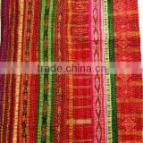 Vintage patola silk sari patchwork quilt bed cover throw gudri multi color blanket Indian saree quilt