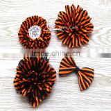 Halloween hair accessory handmad lace flower -orange/ black striped chiffon flowers with beads -cute fabric bows for decoration