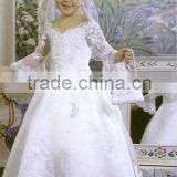 Top welcomed classical v neck long sleeves heavy embroidery white satin embroidery rose flower girl dress A2535