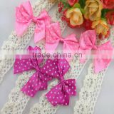Customized Dots Print Polyester Ribbon Bow For Garment Accessories