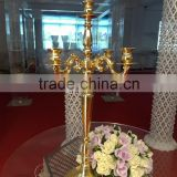 2016 HOT sale gold color metal candelabra for wedding centerpieces /tall gold candelabra