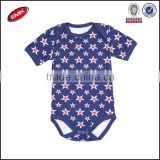 cute newborn 100%cotton romper design royal blue baby summer romper printed allover star romper clothing