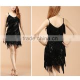 Latin Ballroom Tango Competition Dancing Dress Costume With Tassels