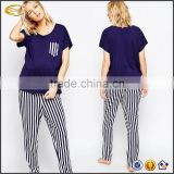 Ecoach wholesale pyjamas women 100%cotton black white Stripe two pieces maternity dress Maternity Pajamas set