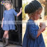 Boutique 100% Cotton Children Frocks Designs Outfits Blue Plaid Fashion Girls Birthday Party Dresses