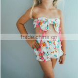 Summer beach clothes set pretty girl bikini swim wear floral print fabric wholesale China factory