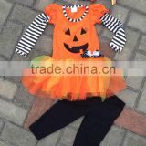 baby girls Halloween pumpkin face dress and pant boutique outfits with matching hair bows and chunky necklace set