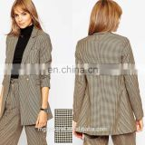 China wholesale women jackets and blazers woven fabric Mini Check Oversized ladies blazers