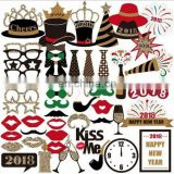 New Design New Year Bouquet Photo Booth Props Glasses Hats and Red lips Wedding Party Flamingo Mask Set Decorations 58pcs/set