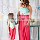 Cute knit mint and coral mommy and me maxi dresses