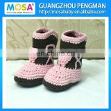 Crochet Newborn Baby Girl Boots Pink and Brown Whosale