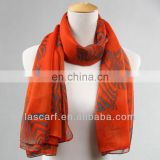 orange animal printing polyester chiffon shawl