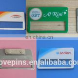 aluminum sublimation printable name badge, reusable company logo printed ID card insert metal name plate