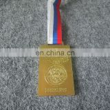 custom personalized logo carved sports souvenir gold silver copper medal with ribbon