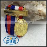 Custom metal school golden medal with good ribbon for sale