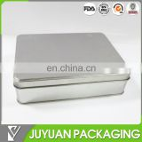 China tin container manufacturer's plain brushed silver metal tin box with hinged lid