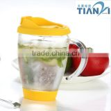 Borosilicate Glass Mug With Handle Silione Lid glass Tea Coffee Mug with silicone lid& botton