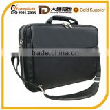 Durable secure comfortable leather laptop bag with sturdy metal frame and outer zippered power pocket