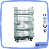 Four layers metal foldable cage pallets