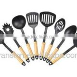 8pcs Nylon kitchen utensil set with wooden handle