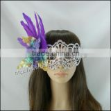 Silver half face cut mask artificial purple feather Flower petal colorful pearl party mask