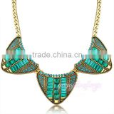 Latest design women gold plated emerald beads necklace