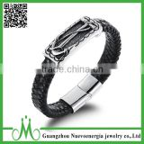 Embossed Braided Anchor Leather Cuff Bracelet Stainless Steel Magnetic Clasp Genuine Leather Bracelet