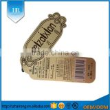 Specialty Customized Glossy Color Printing Logo Two Pieces Garment Hang Tags For Clothing