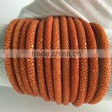 2016 High End Jewelry Cord Fish Skin Stingray Leather Luxury 4mm 5mm 6mm Size Provider Vivid Orange Stingray Rope