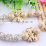 Newest!! Christmas fashion charming gold bubblegum chunky necklace in bulk!wholesale chunky bubblegum necklace!