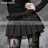Q-220 Punk Rave Gothic original kilt design black sexy short mini dress