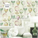 stock printing pvc wallpaper, for kids air balloon wall decal for kids room , decorating wall mural warehouse