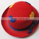 Red felt round hat with ribbon for kids
