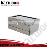 silver color leather watch box,transparent wooden watch display box,watch display box with chest