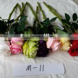 short length colorful single head silk rose artificial flower