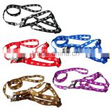 Nylon Small Dog Puppy Harness & Walking Leash with Paw Print Adjustable Wholesale for Dogs